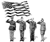 memorial day image showing soldiers saluting to flag